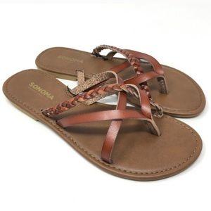 Sonoma Brown Braided Flat Summer Sandals S 5/6